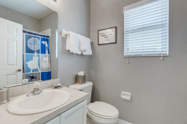 Bathroom with shower & tub combo