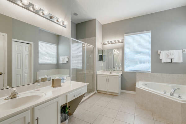 Master ensuite bathroom with garden tub and large vanity space