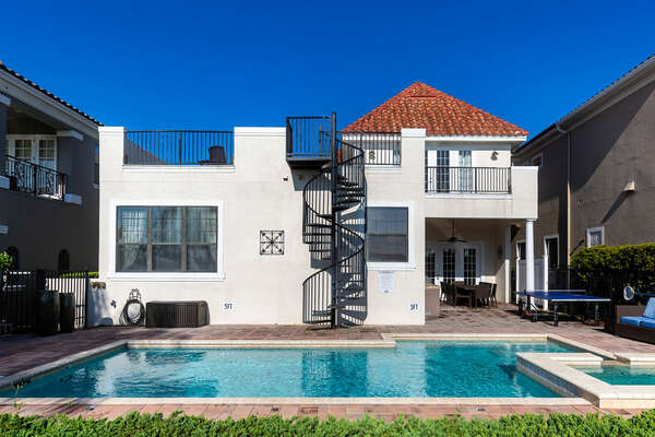 Take the stairs to the second floor open balcony straight from the pool