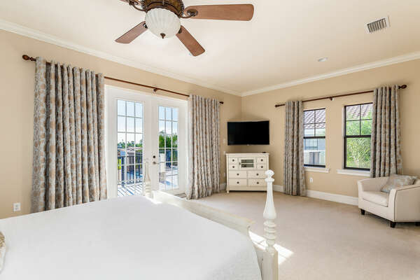 Enjoy private access to the second floor balcony and a sitting area