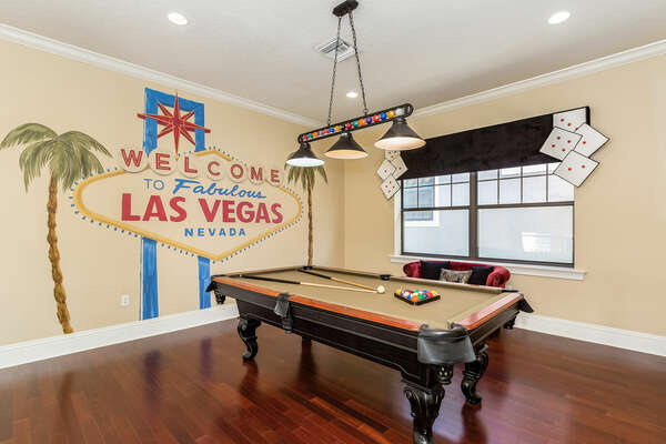 More entertainment awaits in the Vegas-themed loft games room