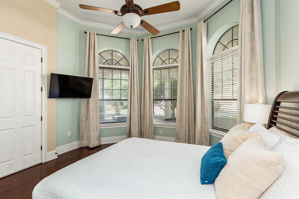 Enjoy plenty of natural light and a king size bed