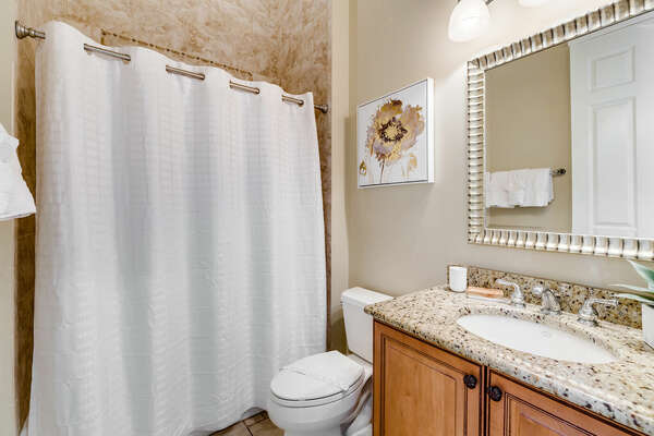 Get ready for the day in the ensuite bath