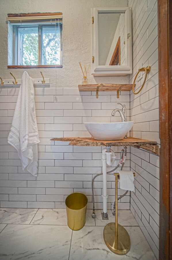 Vanity sink with unique bowl sink.