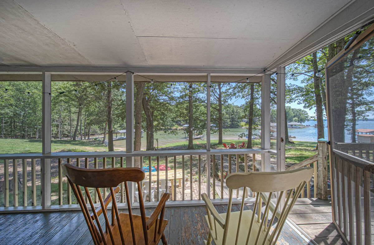 Views from the front porch of this waterfront Smith Mountain Lake vacation rental.