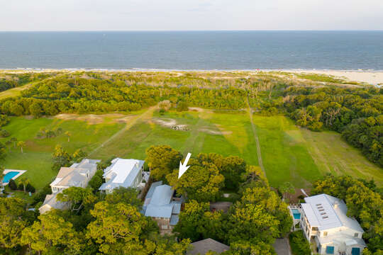 Aerial View of our Beachfront Rental in St. Simons Island, GA