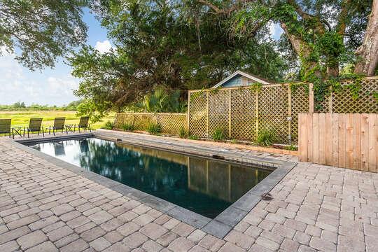 Brick Pool Decking at Vitamin Sea Cottage