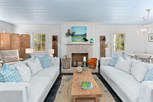 Fully Furnished Living Room at our Beachfront Rental in St. Simons Island, GA