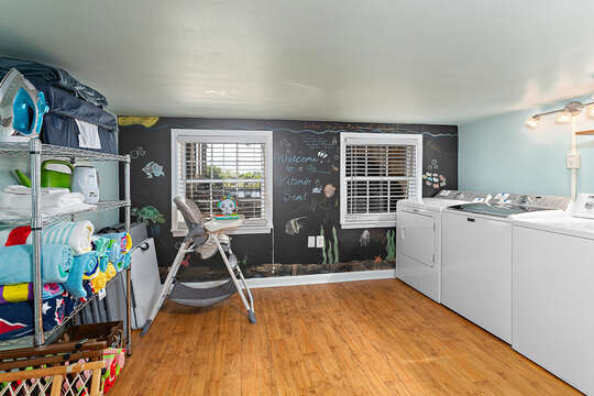 A Full Laundry Room Plus Extra Linens and Baby Gear