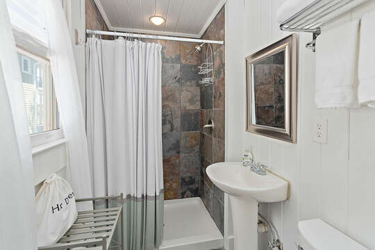 Full Bath with Tub/Shower Combo and Pedestal Sink