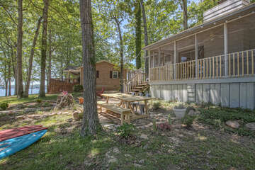 Outdoor seating and the exterior of this waterfront Smith Mountain Lake vacation rental.