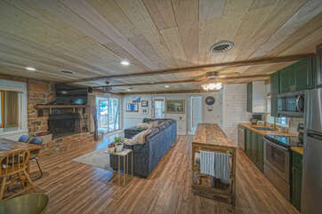 The main room of this waterfront Smith Mountain Lake vacation rental.