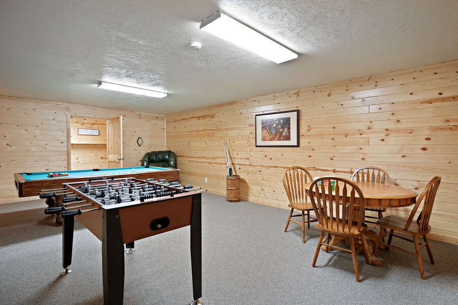 Henrys Hawk ~ Foosball table, game table, and pool table in lower level