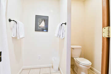 Master bathroom with a shower and toilette
