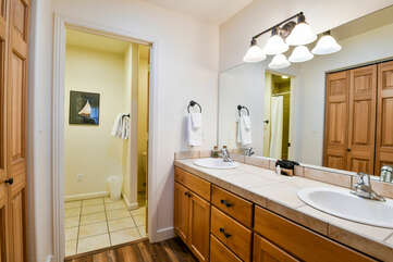 Master bathroom with two sinks
