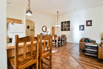 Kitchen and dining room with chairs