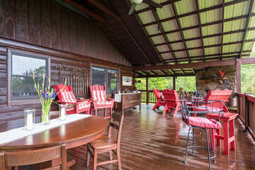 Breezes and rain on the tin roof make this patio ideal