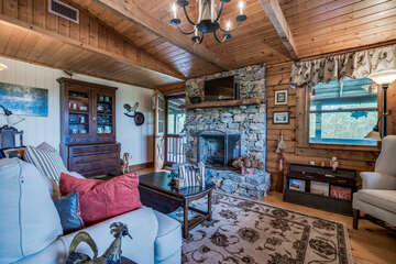 Living room with a cabin feel