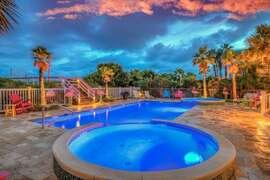 Large pool with two kiddie pools