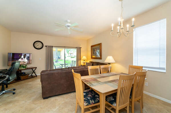 Open floor plan showing living and dining room