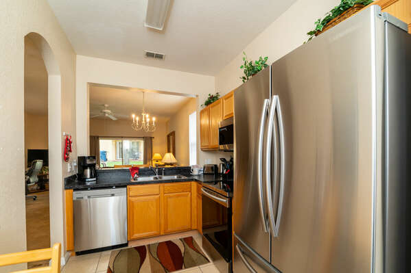 upgraded kitchen with french door fridge