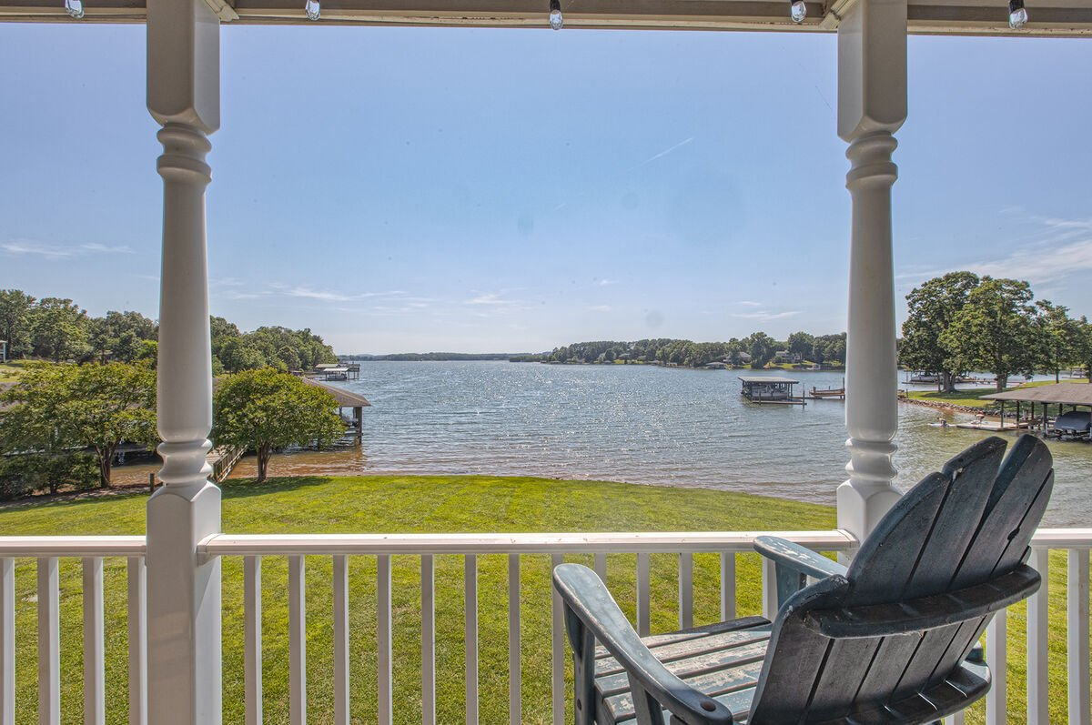 Views of the lake from the front porch of this lakefront home  in Smith Mountain Lake.