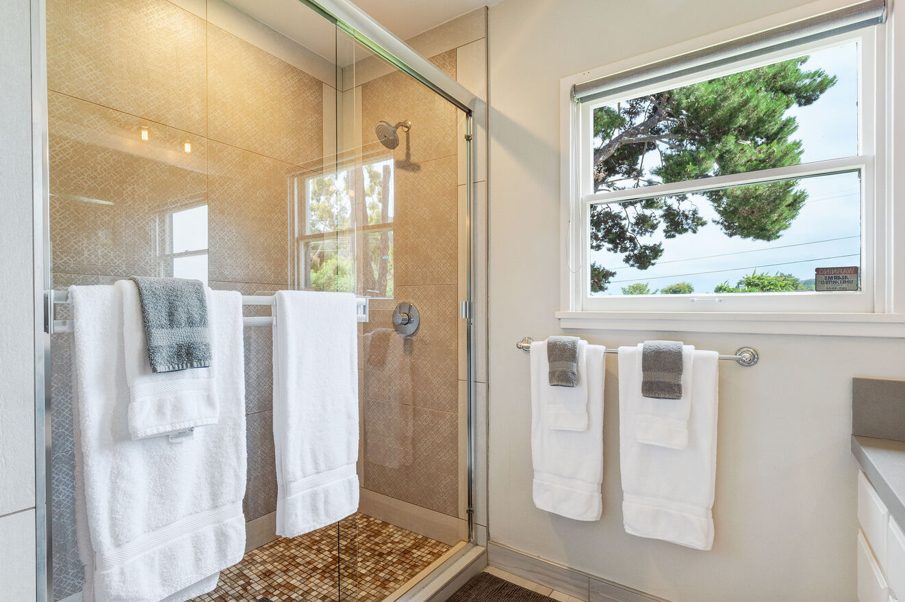 Ensuite bath to Bedroom #1 with large shower