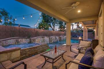 Kick back and relax on the comfortable patio furniture! The backyard also features a patio fan to keep you cool.