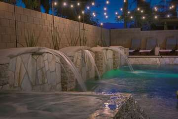 The beautiful water feature is sure to impress your family and friends. Bring your own floats and relax under desert sunset.