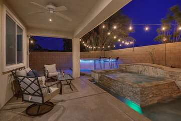 Enjoy a glass of wine while the kids splash in the pool!