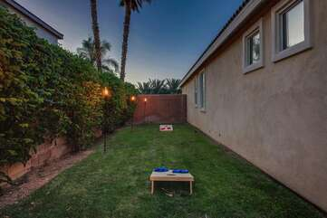 Toss a few bean bags and challenge a friend,  notice the palm trees, views for days!