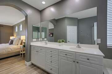 His and her double vanity sink.