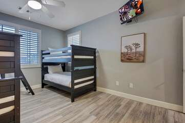 Enjoy the 32-inch Vizio HDTV television. Bedroom 3 is located next to the hallway bathroom which features a vanity sink and combo shower/tub.