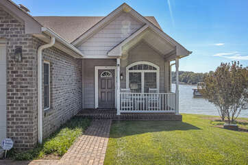 Front exterior of this lakefront home  in Smith Mountain Lake.