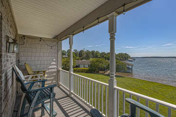Deck of this lakefront home  in Smith Mountain Lake  Overlooking the Lake.