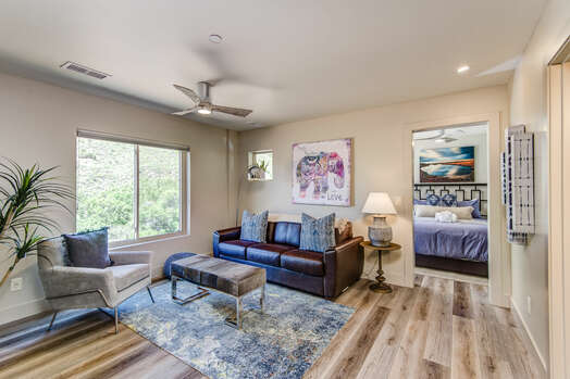 Main Level Family Room with a Queen Sleeper Sofa