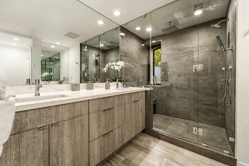 Bathroom with Oversized Walk-in Shower and Double Sinks