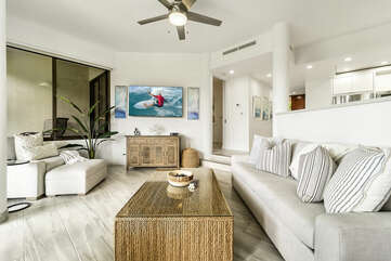 Sofa, Armchair, Coffee Table, Smart TV, and Ceiling Fan
