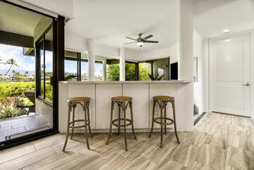 Breakfast Bar and Kitchen with Ceiling Fan