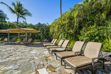Outdoor Lounge Chairs in the Mauna Lani Point Pool Area