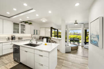 Kitchen with Island, Toaster, and Coffee Maker