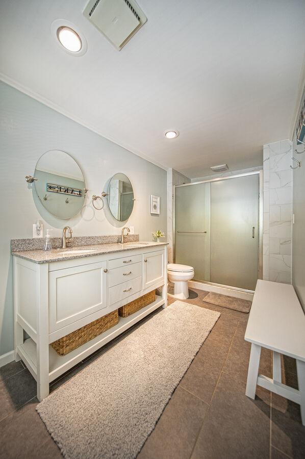 Master Bath with ornate vanity sink.