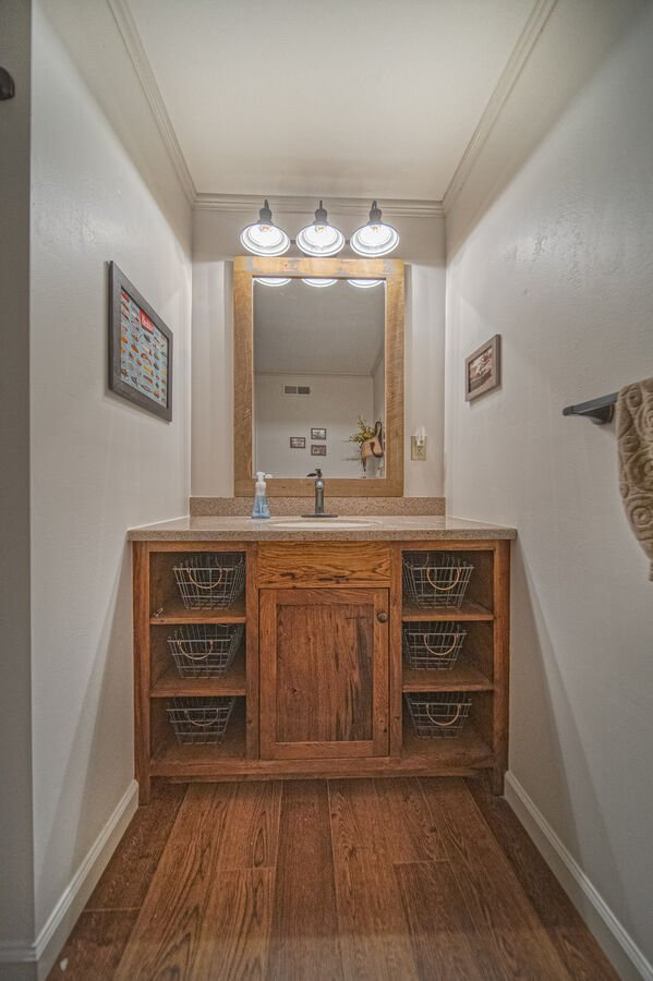 Lower Level Bathroom with vanity sink