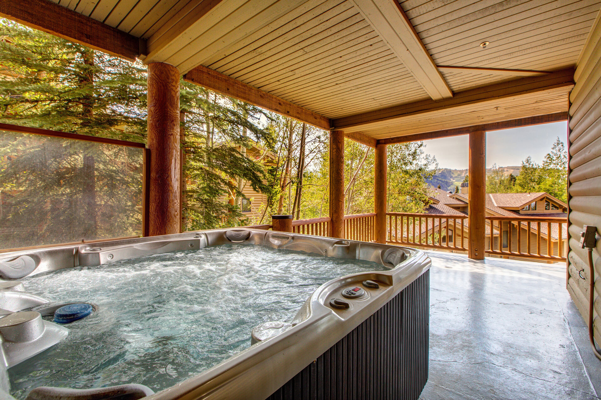 Private Hot Tub on Lower Level Covered Patio with Stunning Mountain Views