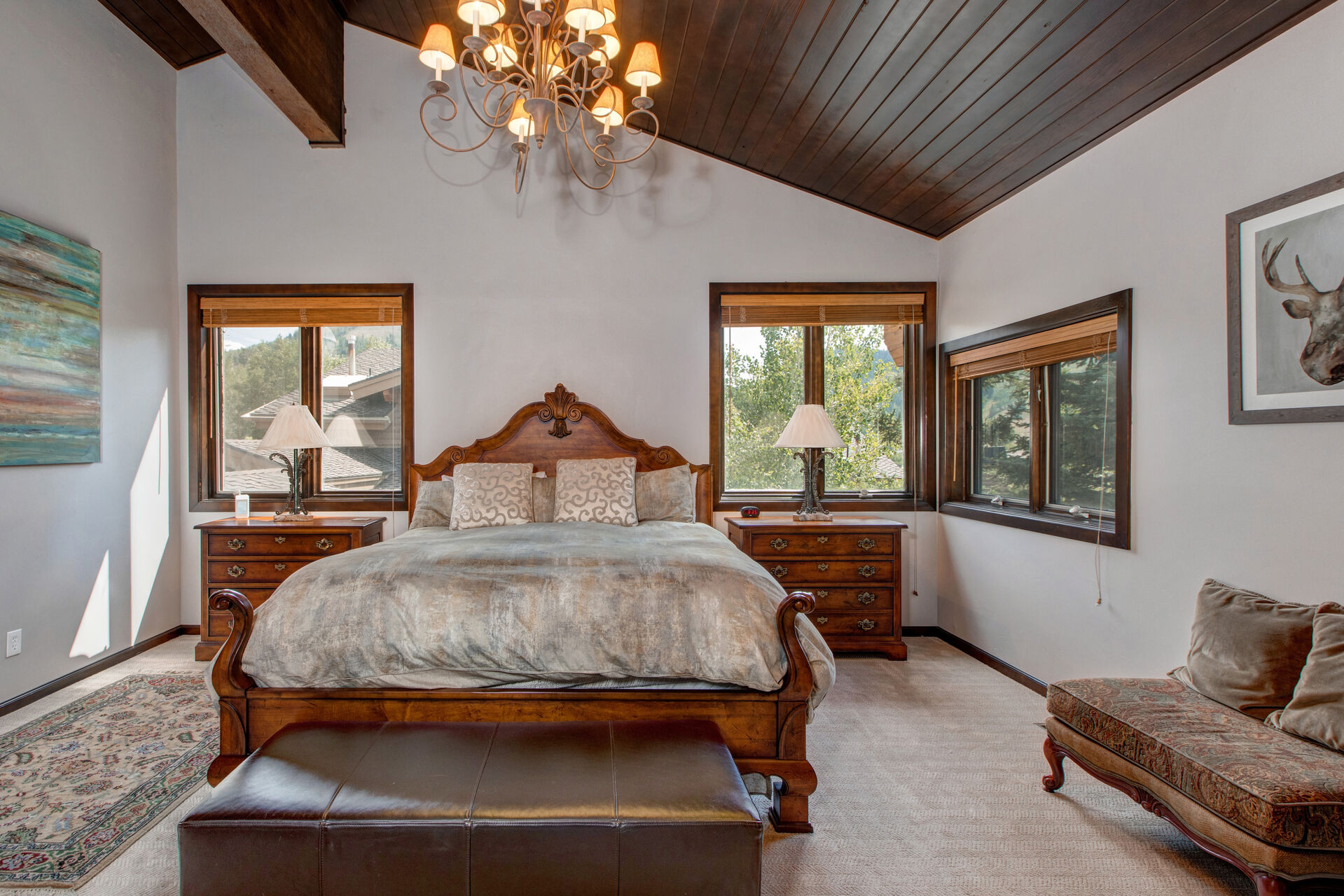 Upper Level Grand Master Bedroom with a King Bed