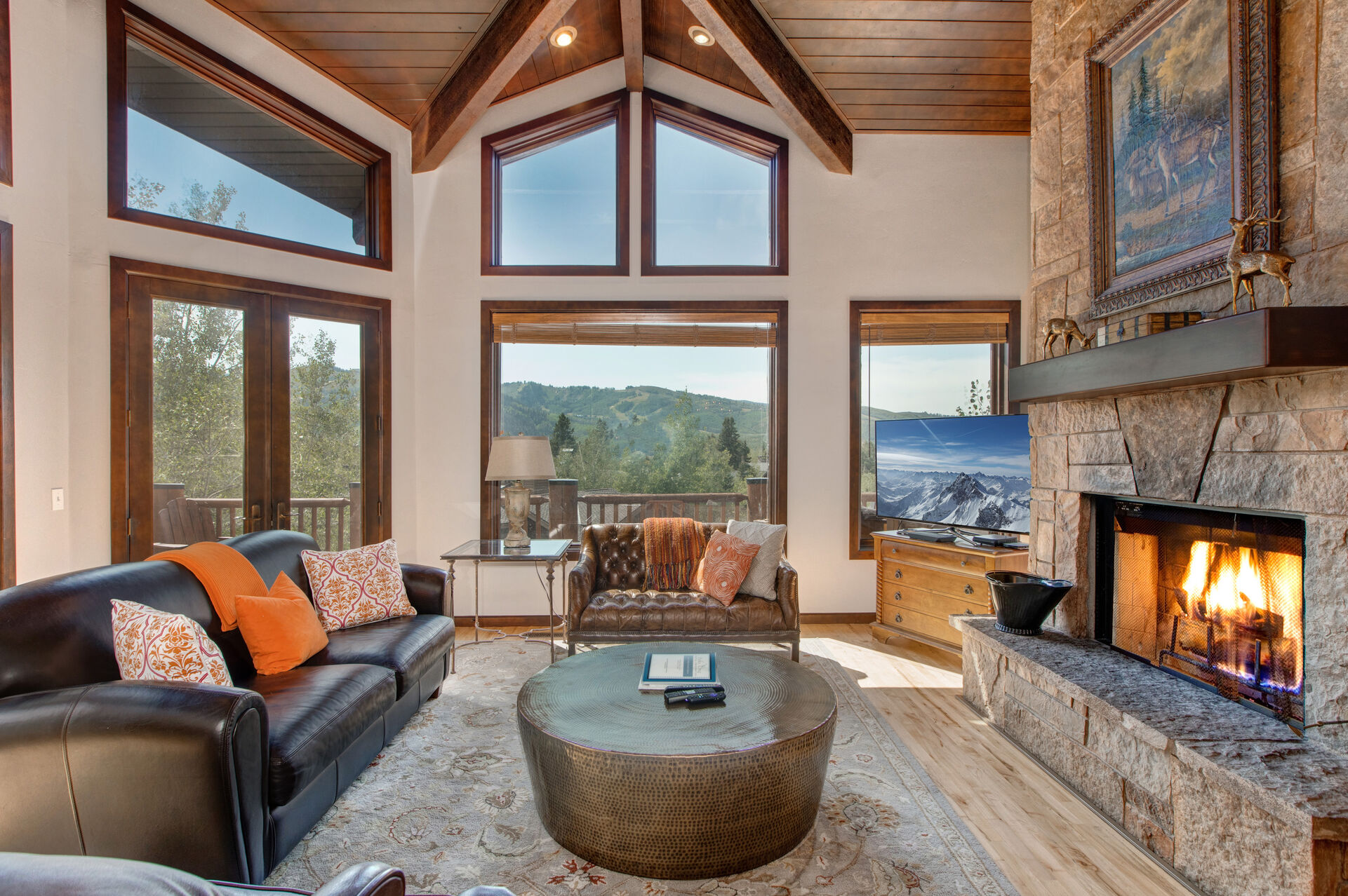 Spacious Living Room Surrounded by Walls of Windows for Natural Light and Deer Valley Views