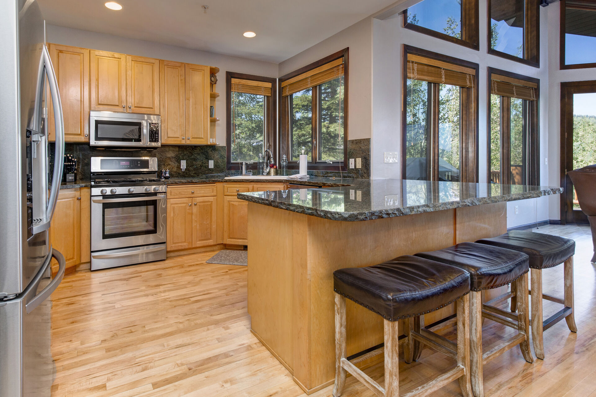 Fully Equipped and Offers Stainless Steel Appliances, Plenty of Counter Space and Bar Seating for Five