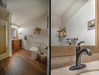 Lower Level Bathroom with vanity sink and toilet.