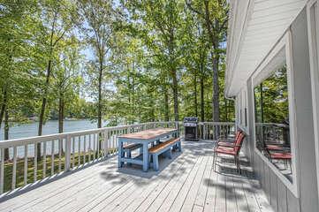 Great Decks off the Kitchen of this Smith Mountain Lake rental waterfront.