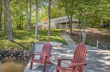 Nearly Flat Point Lot with view of this Smith Mountain Lake rental waterfront.
